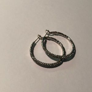 Brighton Sterling Silver Hoops with Pave Stones